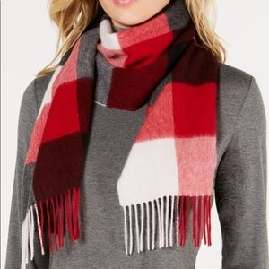 Red, black, gray, and white cashmere scarf